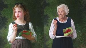 """Left: Williams Bouguereau's """"Raspberry Girl""""; Right: Alice Burnham as the Raspeberry Girl"""
