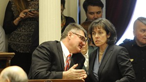 House Minority Leader Don Turner confers with House Speaker Mitzi Johnson