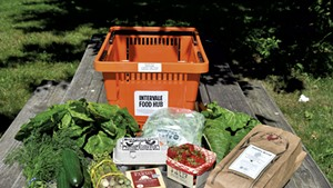 A selection of goods from one week's Intervale Food Hub share