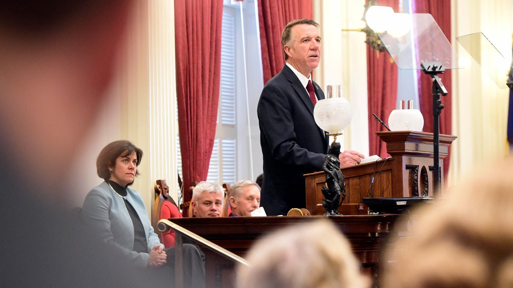 Gov. Phil Scott delivering his second budget address - FILE: JEB WALLACE-BRODEUR