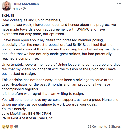 Julie MacMillan's resignation - FACEBOOK