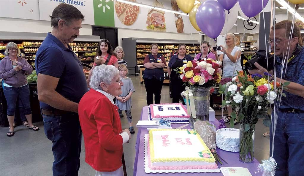 Gisele Seymour at her 100th birthday party at Walmart