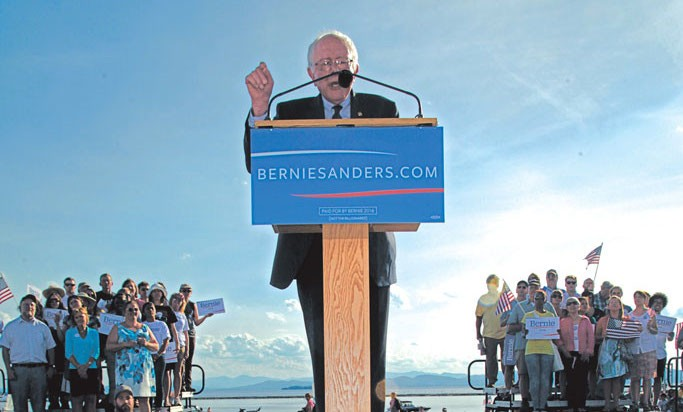 Sen. Bernie Sanders holds his first presidential campaign kickoff at the Burlington waterfront in 2015. - FILE: MATTHEW THORSEN