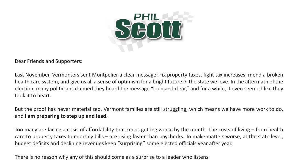 a fundraising appeal from lt gov phil scott