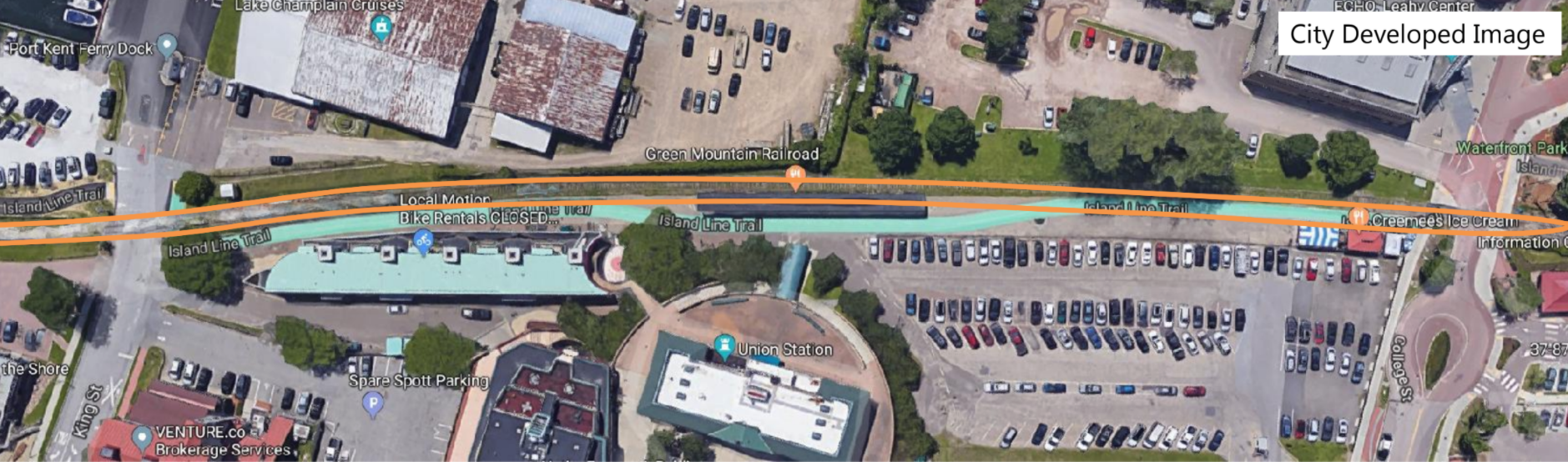A map showing the second track, which would displace the bike path - CITY OF BURLINGTON