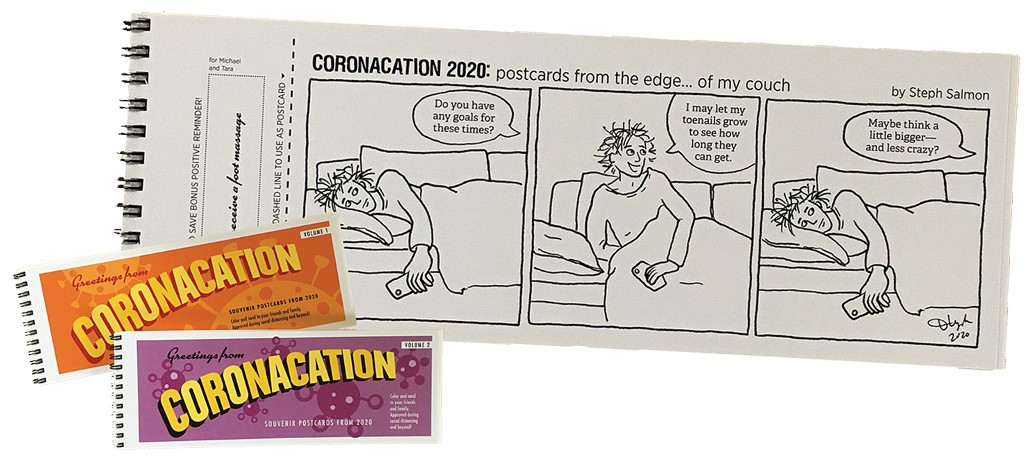 """Greetings From Coronacation: Souvenir Postcards From 2020,"" Volumes 1 & 2  by Stephanie Salmon"
