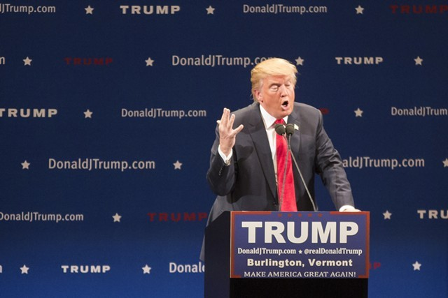 Donald Trump speaks in Burlington in January. - FILE: JAMES BUCK