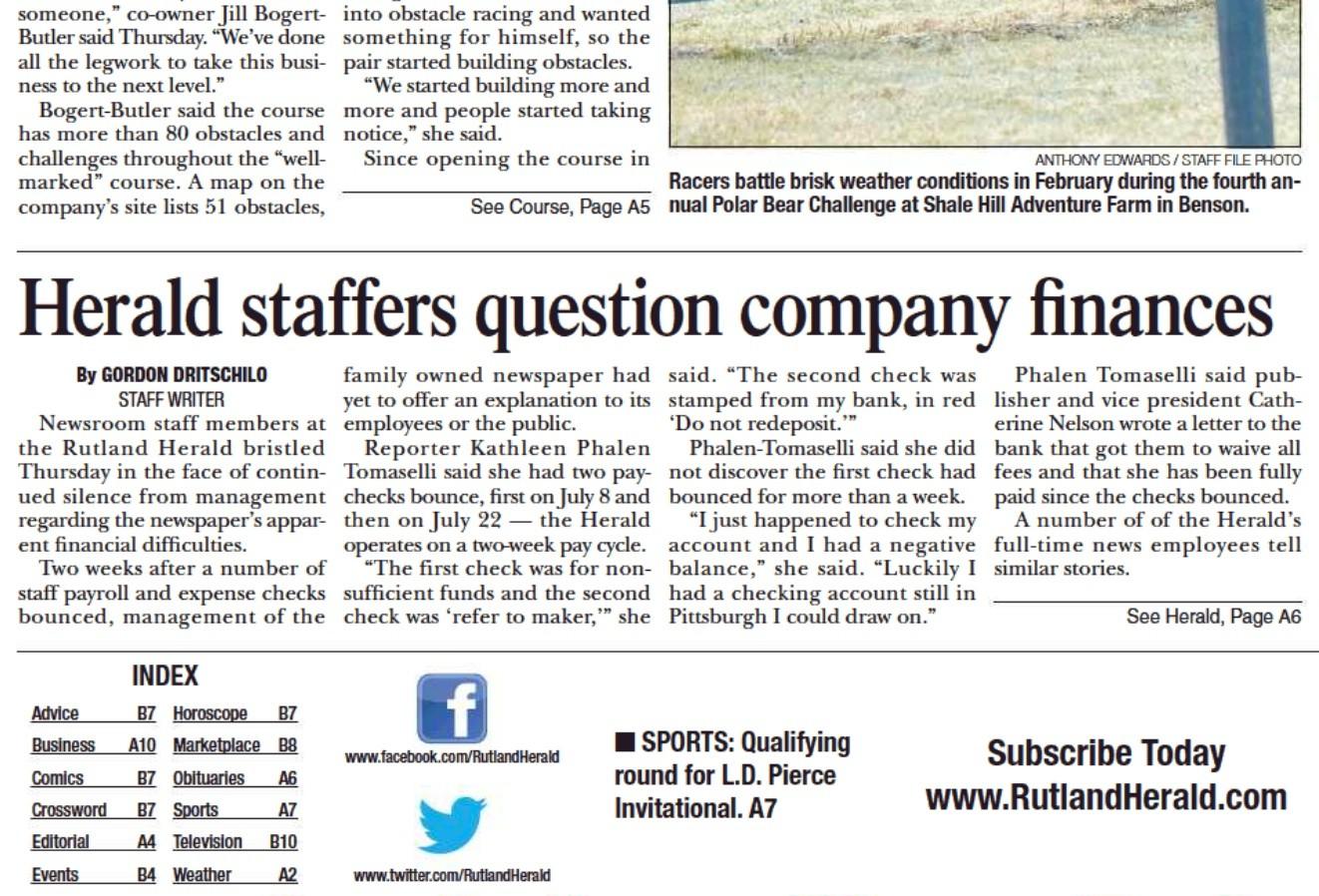 Rutland, Barre newspapers won't print 3 days a week | State News ...