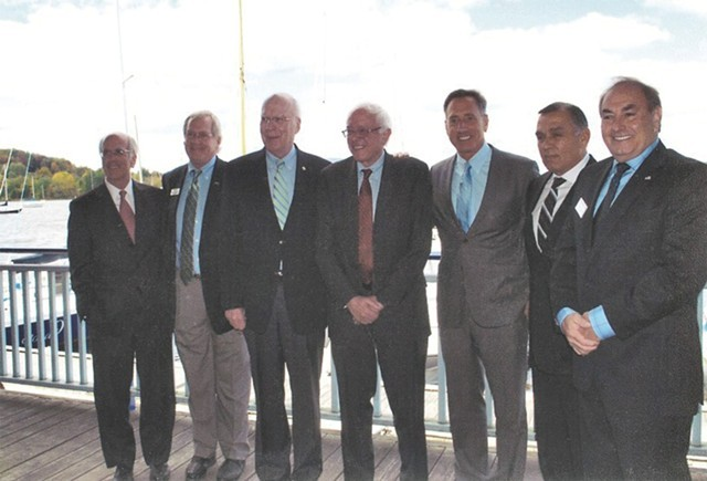 Left to right: Congressman Peter Welch, Bill Stenger, Sen. Patrick Leahy, Sen. Bernie Sanders, Gov. Peter Shumlin, Ariel Quiros and William Kelly in Newport in September 2012 - COURTESY OF BILL STENGER
