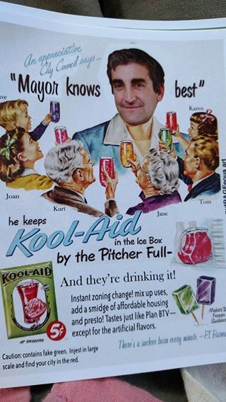 Mayor Miro Weinberger gets the Kool-Aid treatment. - STOP THE 14-STORY MALL FACEBOOK PAGE
