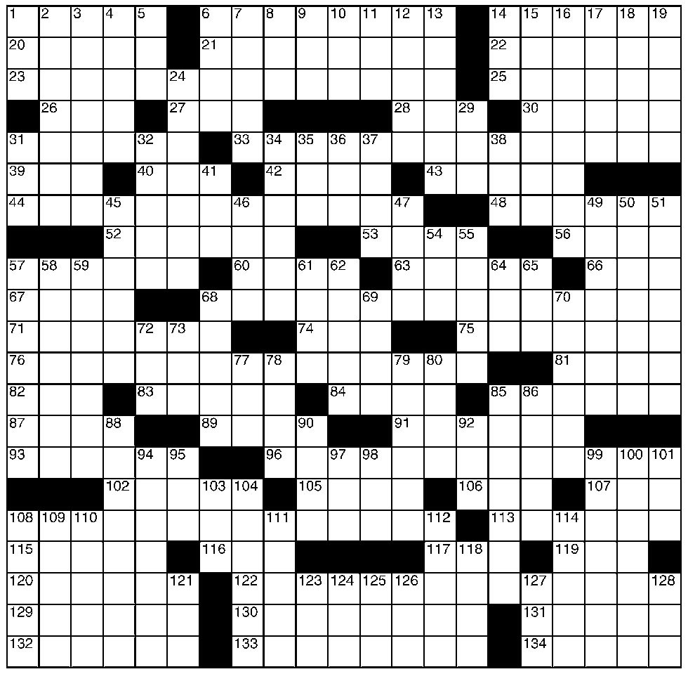 Common Crossword Clues Starting with W