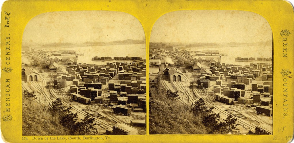 Burlington waterfront in the 1870s