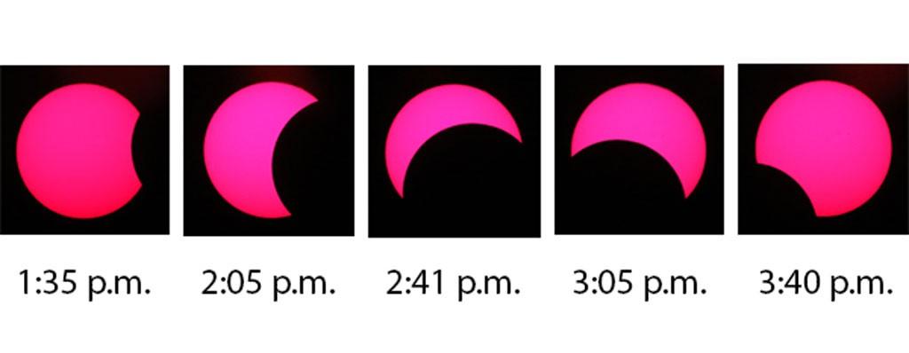 Photos taken at Middlebury College's Mittelman Observatory on Monday by telescope specialist Jonathan Kemp - COURTESY OF JONATHAN KEMP
