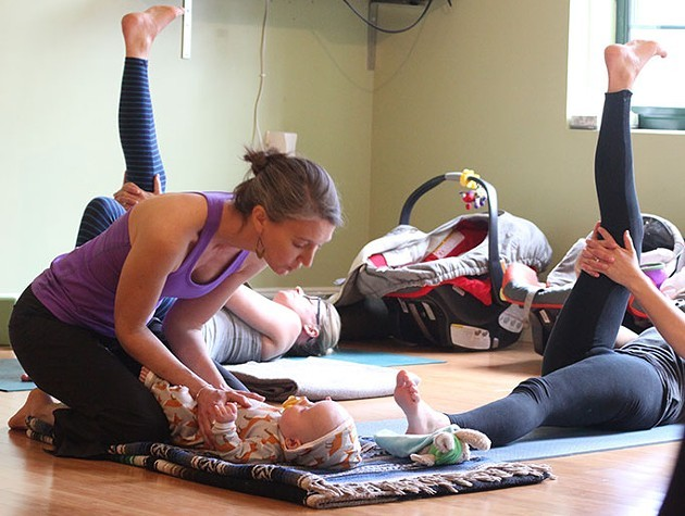 Cline Lucey teaches postnatal yoga - MATTHEW THORSEN