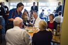 Vice President Joe Biden dines with Sue Minter and Patrick and Marcelle Leahy Friday morning at Penny Cluse Cafe.