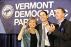 Sue Minter, Democratic candidate for governor; David Zuckerman, Progressive/Democratic candidate for lieutenant governor; and T.J. Donovan, Democratic candidate for attorney general at Friday's Montpelier rally
