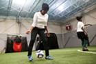 Sahro Luhizo dribbling a ball
