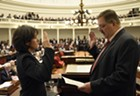 House Speaker Mitzi Johnson taking her oath of office in January with Secretary of State Jim Condos