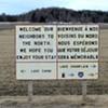 A sign near the border