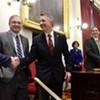 Sen. Tim Ashe, left, shakes Gov. Phil Scott's hand at the governor's budget address on January 24, 2019.