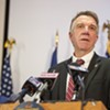 Gov. Phil Scott speaking at a press conference on Friday