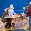 Voters registering at Edmunds Middle School