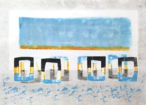 "COURTESY OF TWO RIVERS PRINTMAKING - ""Finding Stones at Dawn with Mom"" monotype by Patty Castellini"