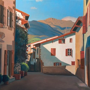 """COURTESY OF HIGHLAND CENTER FOR THE ARTS - """"Camino Day 1, St. Jean Pied de Port, Pyrenees"""" by Susan Abbott"""