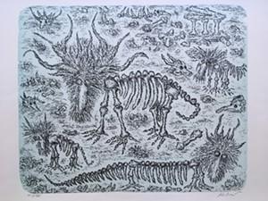 """COURTESY OF BENNINGTON MUSEUM - """"Thinking About Extinction II"""" by Edward Koren"""