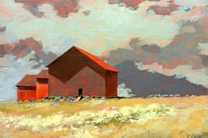 "COURTESY OF BRYAN MEMORIAL GALLERY - ""Hilltop Sheep"" by Robert Furda"