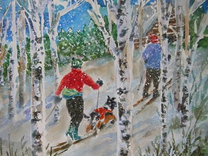 "COURTESY OF KATE REEVES - ""Thru the Birches,"" watercolor by Kate Reeves"