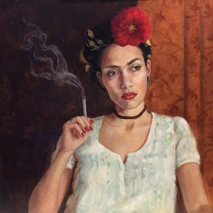 """""""Frida Wears White,"""" painting by August Burns - Uploaded by Valleyartsvt"""