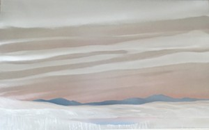 "COURTESY OF EDGEWATER GALLERY IN STOWE - ""First Snow Fall,"" auto paint on brushed aluminum by Homer Wells"