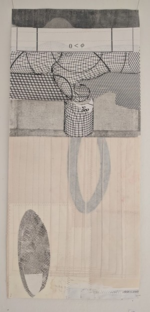 COURTESY OF NEW CITY GALERIE - Sewn collage with monoprint by Susan Smereka