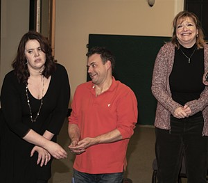 """Jill Torres, Jamie Polli and Linda Kindsvatter rehearse a scene in """"Noises Off"""". - Uploaded by Dick M."""