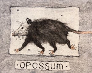 "COURTESY OF NORTHEAST KINGDOM ARTISANS GUILD - ""Opossum on the Run"" by Amanda Weisenfeld"