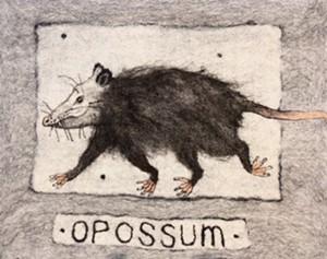 "COURTESY OF NORTHEAST KINGDOM ARTISANS GUILD - ""Opossum on the Run"" by Amanda Weisenfeld"