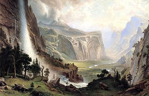 """Domes of Yosemite"" by Albert Bierstadt - Uploaded by Vermont Humanities"