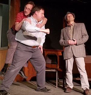 Dr. Sanderson (Wes Olds) tries to restrain Wilson (Barry Bolio) from attacking Elwood (Doug Bergstein) in the Valley Players production of Harvey, running Friday-Sunday, May 31-June 16. - Uploaded by Valley Players