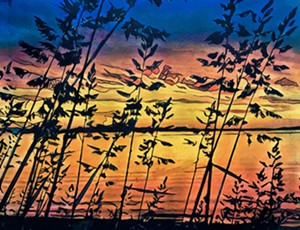 "COURTESY OF T.W. WOOD GALLERY - ""Lake Champlain Evening"" by Michael Strauss"