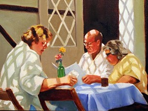 "COURTESY OF JACKSON GALLERY - ""Diners with Lattice"" by Tancy Holden"