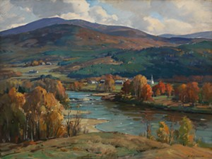 "COURTESY OF BRYAN MEMORIAL GALLERY - ""West River Autumn"" by Aldro Hibbard"