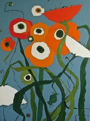 "COURTESY OF ERIKSSON FINE ART'S COMFORT FARM - ""Brilliant Poppy Field"" by Karen Tusinski"