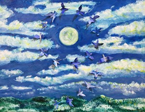 """COURTESY OF SPA - """"Once Upon a Snowlit Blue Bird Moot at Sunset"""" by James Frase White"""