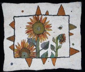 "COURTESY OF NORTHEAST KINGDOM ARTISANS GUILD - ""Bumble Bee,"" felt wall hanging by Amanda Weisenfeld"