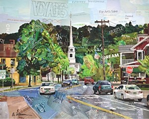 """COURTESY OF STOWE CRAFT & DESIGN - """"Vermont Steeple"""" collage by Betsy Silverman"""