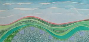 """COURTESY OF AXEL'S GALLERY & FRAMESHOP - """"Onda Terra,"""" watercolor by Cristina Pellechio"""