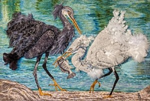 "COURTESY OF THREE MOUNTAIN CAFÉ - ""Egrets,"" hooked rug by Sandra Grant"