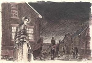 "COURTESY OF HERITAGE WINOOSKI MILL MUSEUM - ""Bustling City"" illustration by David Macaulay"
