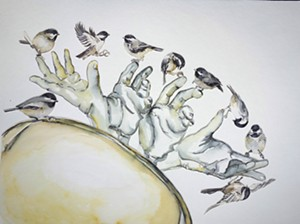 "COURTESY OF ART'S ALIVE - ""Chickadees in Motion,"" watercolor by Nancy Tomczak"